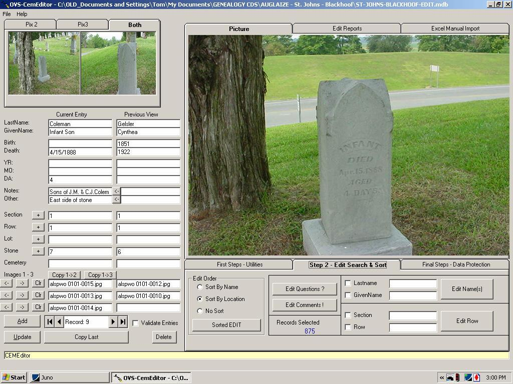 Cemetery transcription and management software screen shot