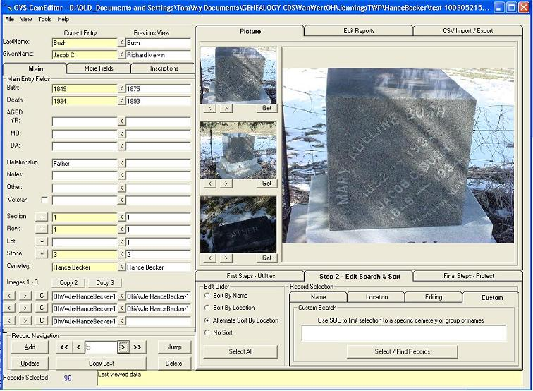 Cemetery transcription and management software screen shot CemEditor2 (102K)